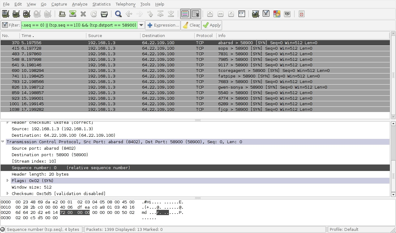 Split - Wireshark filter destination port ...